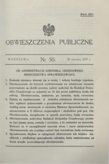 Obwieszczenia Publiczne. R.21, № 50 (23 czerwca 1937)