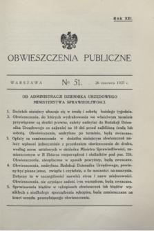 Obwieszczenia Publiczne. R.21, № 51 (26 czerwca 1937)