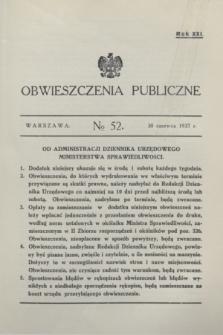 Obwieszczenia Publiczne. R.21, № 52 (30 czerwca 1937)