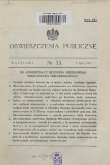 Obwieszczenia Publiczne. R.21, № 53 (3 lipca 1937)