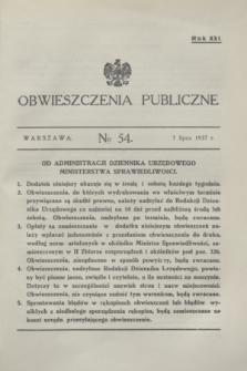 Obwieszczenia Publiczne. R.21, № 54 (7 lipca 1937)