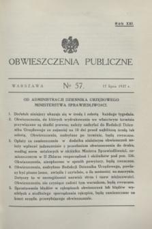 Obwieszczenia Publiczne. R.21, № 57 (17 lipca 1937)