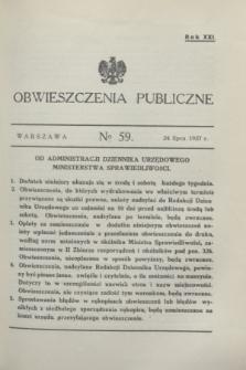 Obwieszczenia Publiczne. R.21, № 59 (24 lipca 1937)