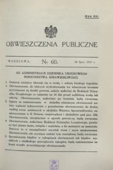 Obwieszczenia Publiczne. R.21, № 60 (28 lipca 1937)
