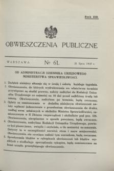 Obwieszczenia Publiczne. R.21, № 61 (31 lipca 1937)