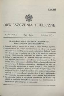 Obwieszczenia Publiczne. R.21, № 62 (4 sierpnia 1937)