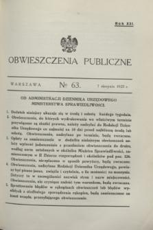 Obwieszczenia Publiczne. R.21, № 63 (7 sierpnia 1937)