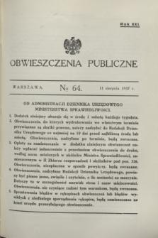 Obwieszczenia Publiczne. R.21, № 64 (11 sierpnia 1937)