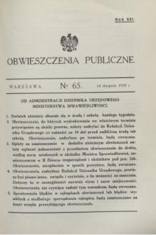 Obwieszczenia Publiczne. R.21, № 65 (14 sierpnia 1937)