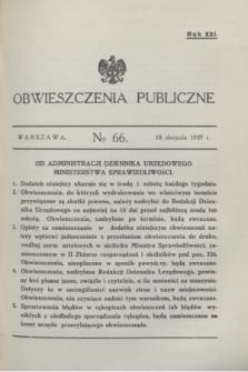 Obwieszczenia Publiczne. R.21, № 66 (18 sierpnia 1937)