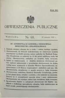 Obwieszczenia Publiczne. R.21, № 68 (25 sierpnia 1937)
