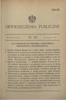 Obwieszczenia Publiczne. R.21, № 69 (28 sierpnia 1937)