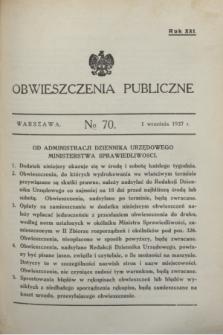 Obwieszczenia Publiczne. R.21, № 70 (1 września 1937)