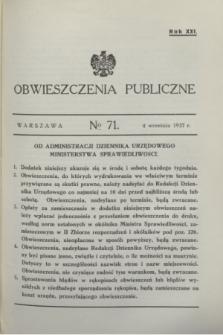 Obwieszczenia Publiczne. R.21, № 71 (4 września 1937)