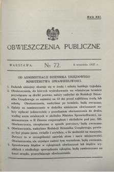 Obwieszczenia Publiczne. R.21, № 72 (8 września 1937)