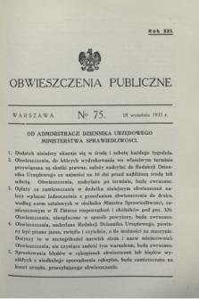 Obwieszczenia Publiczne. R.21, № 75 (18 września 1937)