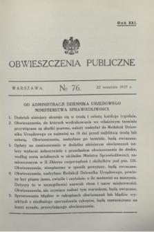 Obwieszczenia Publiczne. R.21, № 76 (22 września 1937)