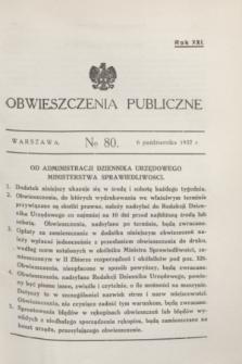 Obwieszczenia Publiczne. R.21, № 80 (6 października 1937)