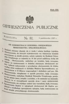 Obwieszczenia Publiczne. R.21, № 81 (9 października 1937)