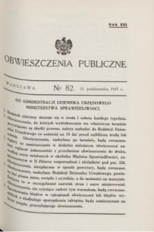Obwieszczenia Publiczne. R.21, № 82 (13 października 1937)