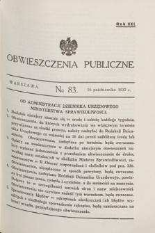 Obwieszczenia Publiczne. R.21, № 83 (16 października 1937)