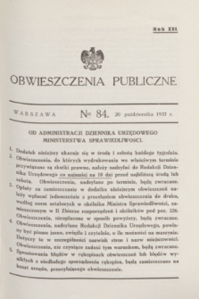 Obwieszczenia Publiczne. R.21, № 84 (20 października 1937)