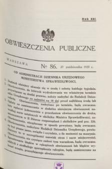 Obwieszczenia Publiczne. R.21, № 86 (27 października 1937)