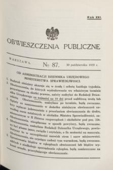 Obwieszczenia Publiczne. R.21, № 87 (30 października 1937)