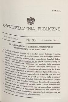 Obwieszczenia Publiczne. R.21, № 88 (3 listopada 1937)