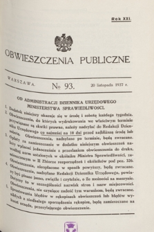 Obwieszczenia Publiczne. R.21, № 93 (20 listopada 1937)