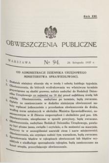 Obwieszczenia Publiczne. R.21, № 94 (24 listopada 1937)