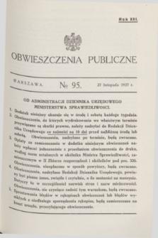 Obwieszczenia Publiczne. R.21, № 95 (27 listopada 1937)
