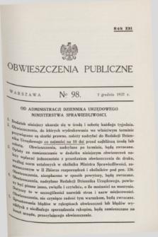 Obwieszczenia Publiczne. R.21, № 98 (7 grudnia 1937)