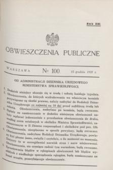 Obwieszczenia Publiczne. R.21, № 100 (15 grudnia 1937)