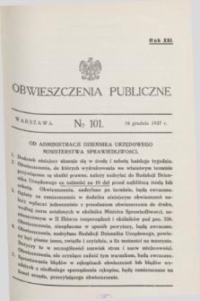 Obwieszczenia Publiczne. R.21, № 101 (18 grudnia 1937)