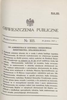Obwieszczenia Publiczne. R.21, № 103 (24 grudnia 1937)
