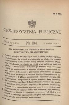 Obwieszczenia Publiczne. R.21, № 104 (29 grudnia 1937)