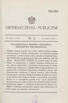 Obwieszczenia Publiczne. R.22, № 5 (19 stycznia 1938)