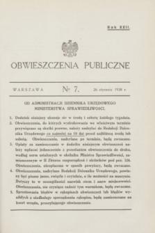 Obwieszczenia Publiczne. R.22, № 7 (26 stycznia 1938)