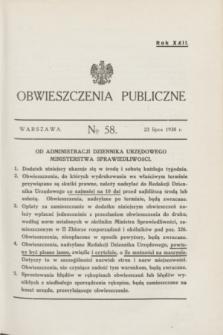 Obwieszczenia Publiczne. R.22, № 58 (23 lipca 1938)