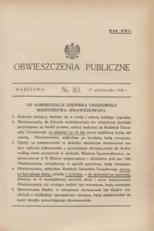 Obwieszczenia Publiczne. R.22, № 83 (19 października 1938)