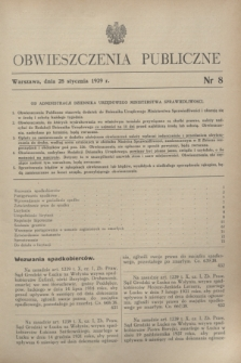 Obwieszczenia Publiczne. 1939, nr 8 (28 stycznia)