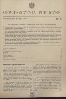 Obwieszczenia Publiczne. 1939, nr 9 (1 lutego)