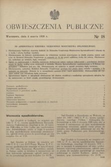 Obwieszczenia Publiczne. 1939, nr 18 (4 marca)