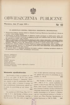 Obwieszczenia Publiczne. 1939, nr 42 (27 maja)