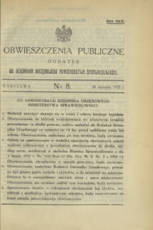 Obwieszczenia Publiczne : dodatek do Dziennika Urzędowego Ministerstwa Sprawiedliwości. R.17, № 8 (28 stycznia 1933)