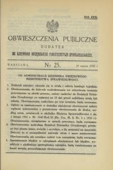 Obwieszczenia Publiczne : dodatek do Dziennika Urzędowego Ministerstwa Sprawiedliwości. R.17, № 25 (29 marca 1933)