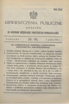 Obwieszczenia Publiczne : dodatek do Dziennika Urzędowego Ministerstwa Sprawiedliwości. R.17, № 98 (9 grudnia 1933)