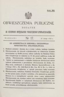 Obwieszczenia Publiczne : dodatek do Dziennika Urzędowego Ministerstwa Sprawiedliwości. R.19, № 17 (27 lutego 1935)