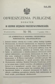 Obwieszczenia Publiczne : dodatek do Dziennika Urzędowego Ministerstwa Sprawiedliwości. R.19, № 98 (7 grudnia 1935)